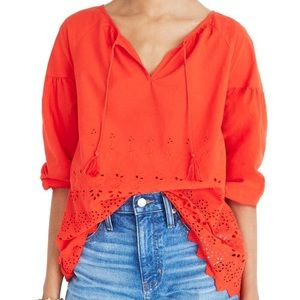 MADEWELL Red Cotton Eyelet Lattice Top